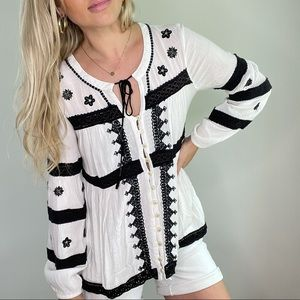 Free People White & Black Embroidered Top XS-M